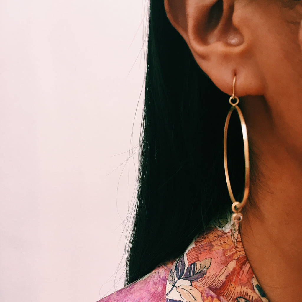 The Large Hoop + Diamond Drop Earring