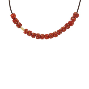 An Orange Swirl Glass Bead Necklace