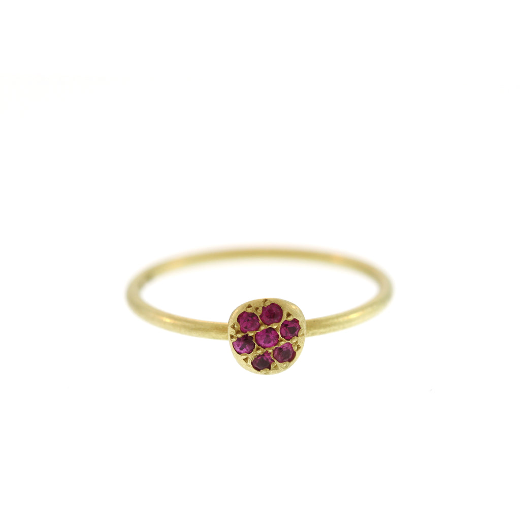 Ruby Pavé Disc Ring