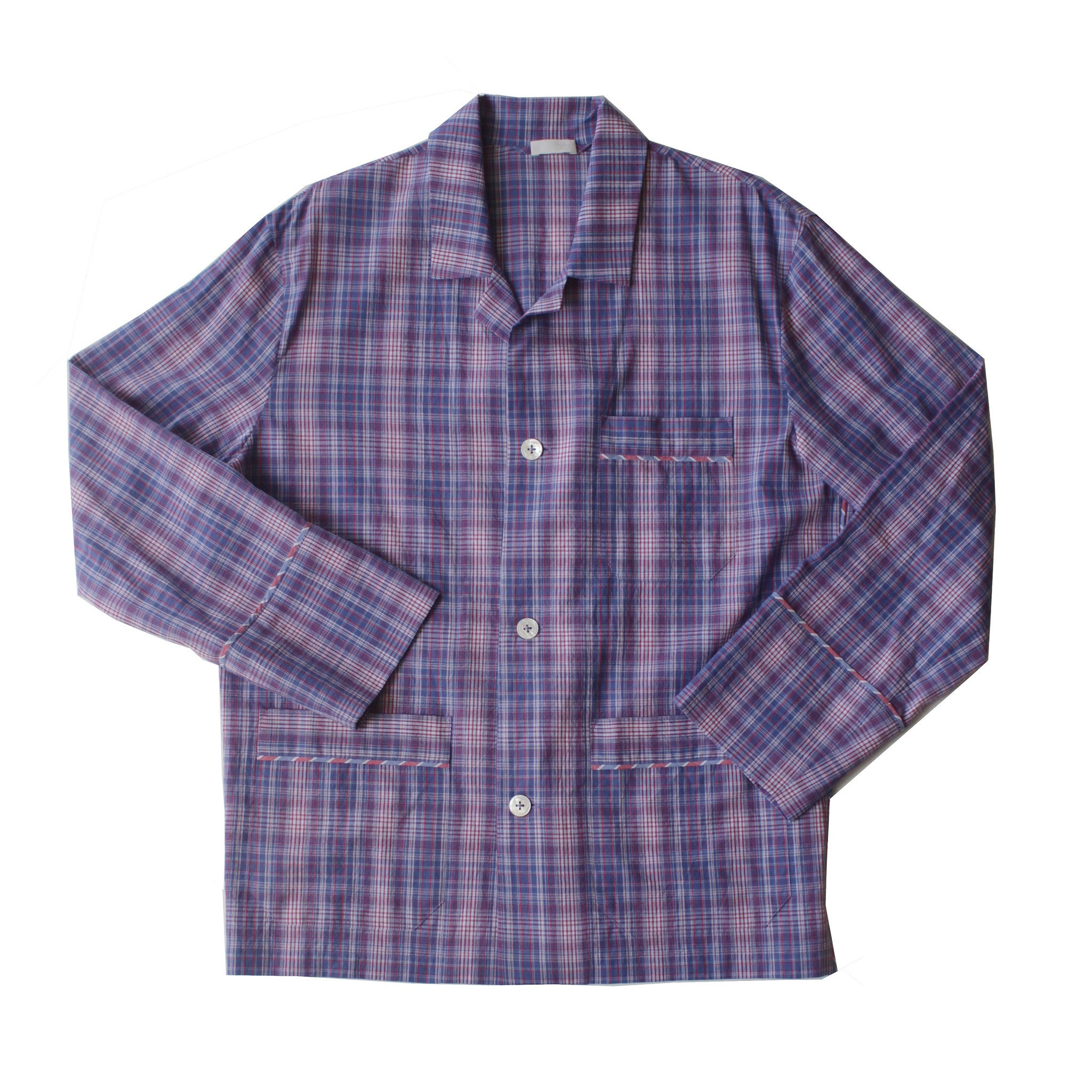 Hyperion Pajama Shirt in Blue Plaid Italian Cotton
