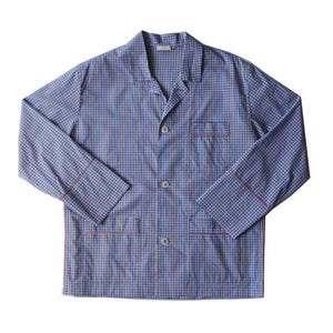 Hyperion Pajama Shirt in Blue Micro Check Italian Cotton