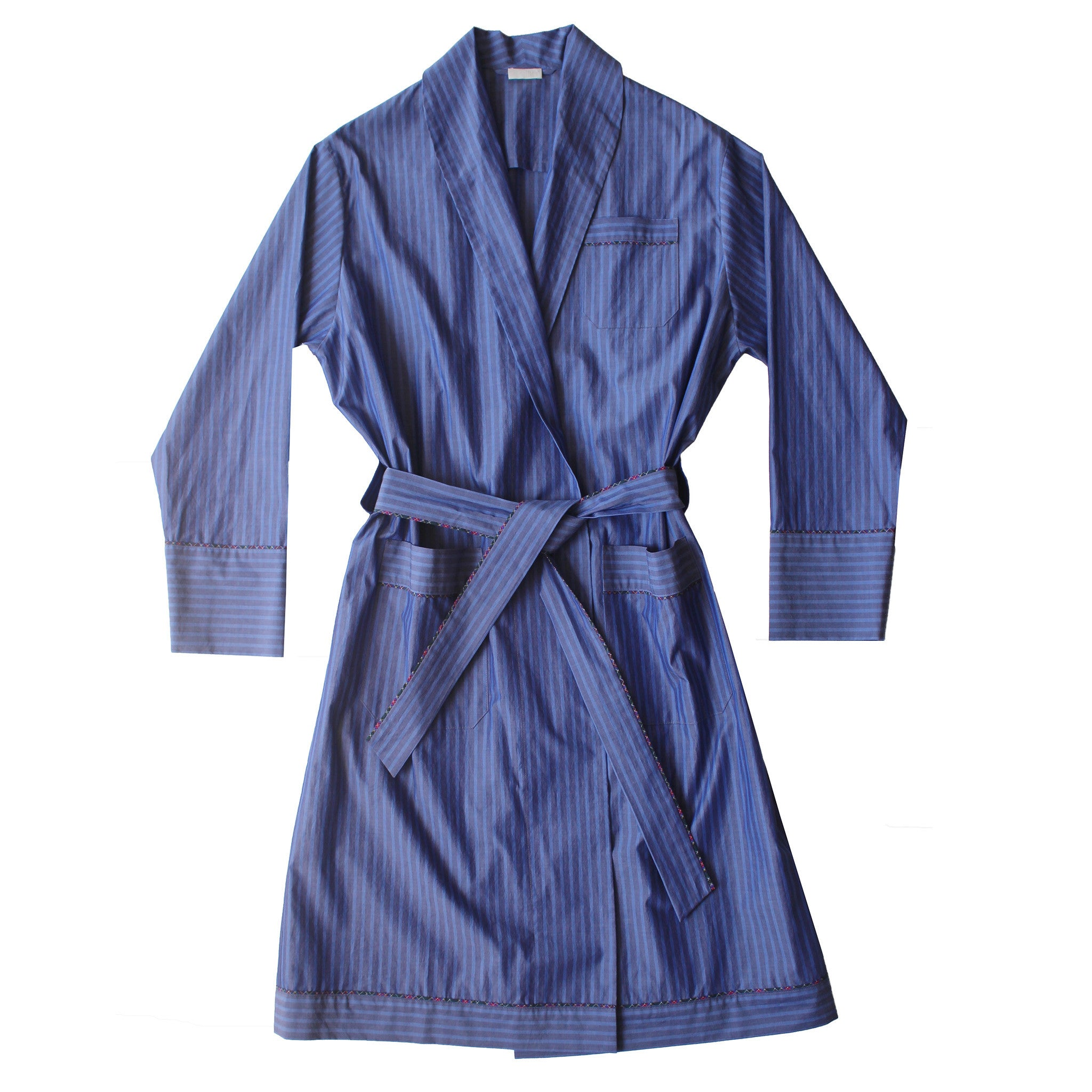 Janus Robe in Blue and Grey Stripe Italian Cotton