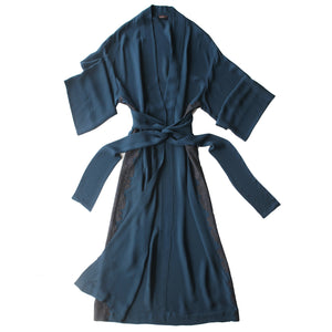 Asteria Dressing Gown in Peacock Double Georgette with Lace