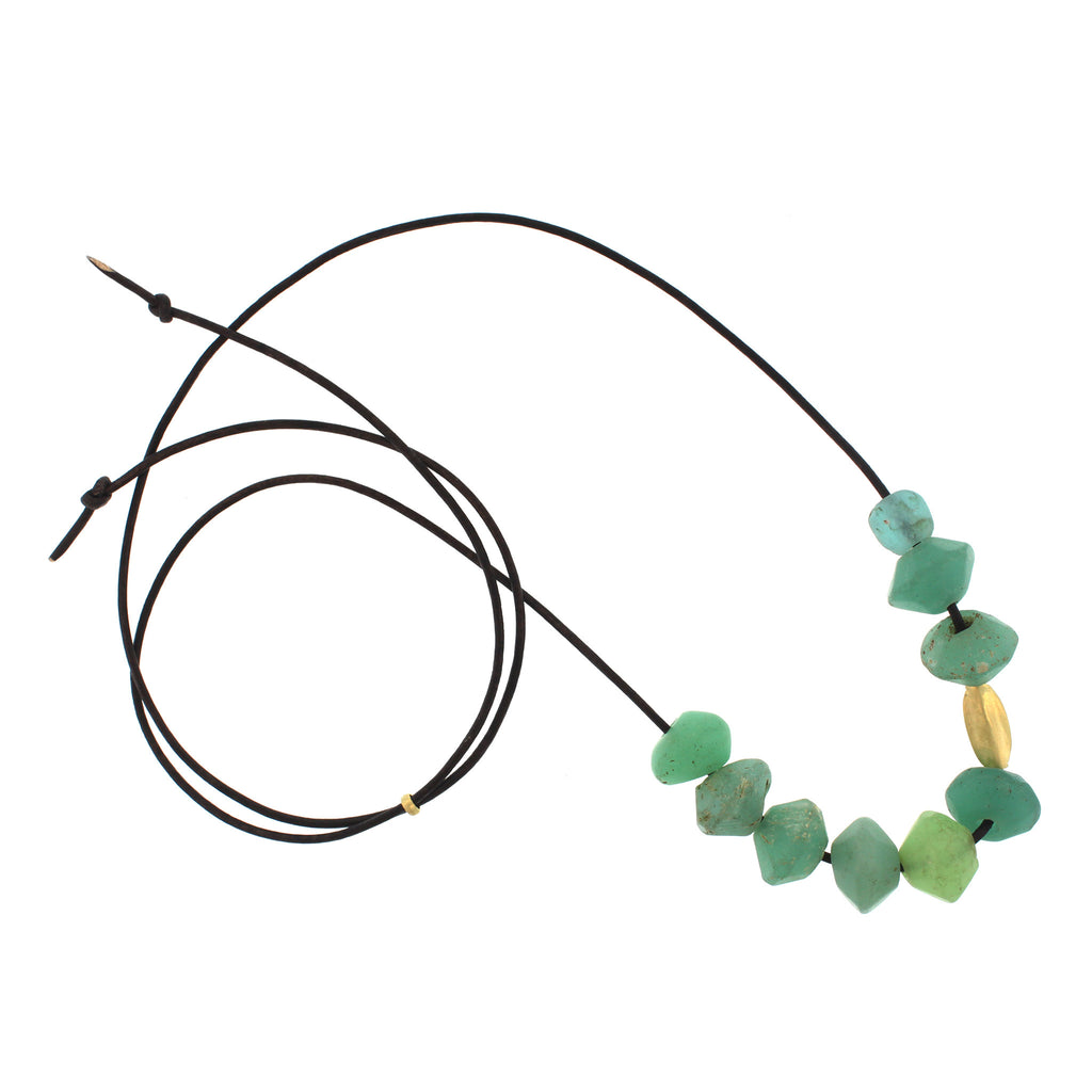 Vintage Glass Bead Necklace - Mint Green