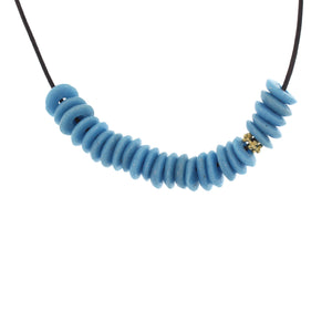 Recycled Glass Bead Necklace - Turquoise Blue