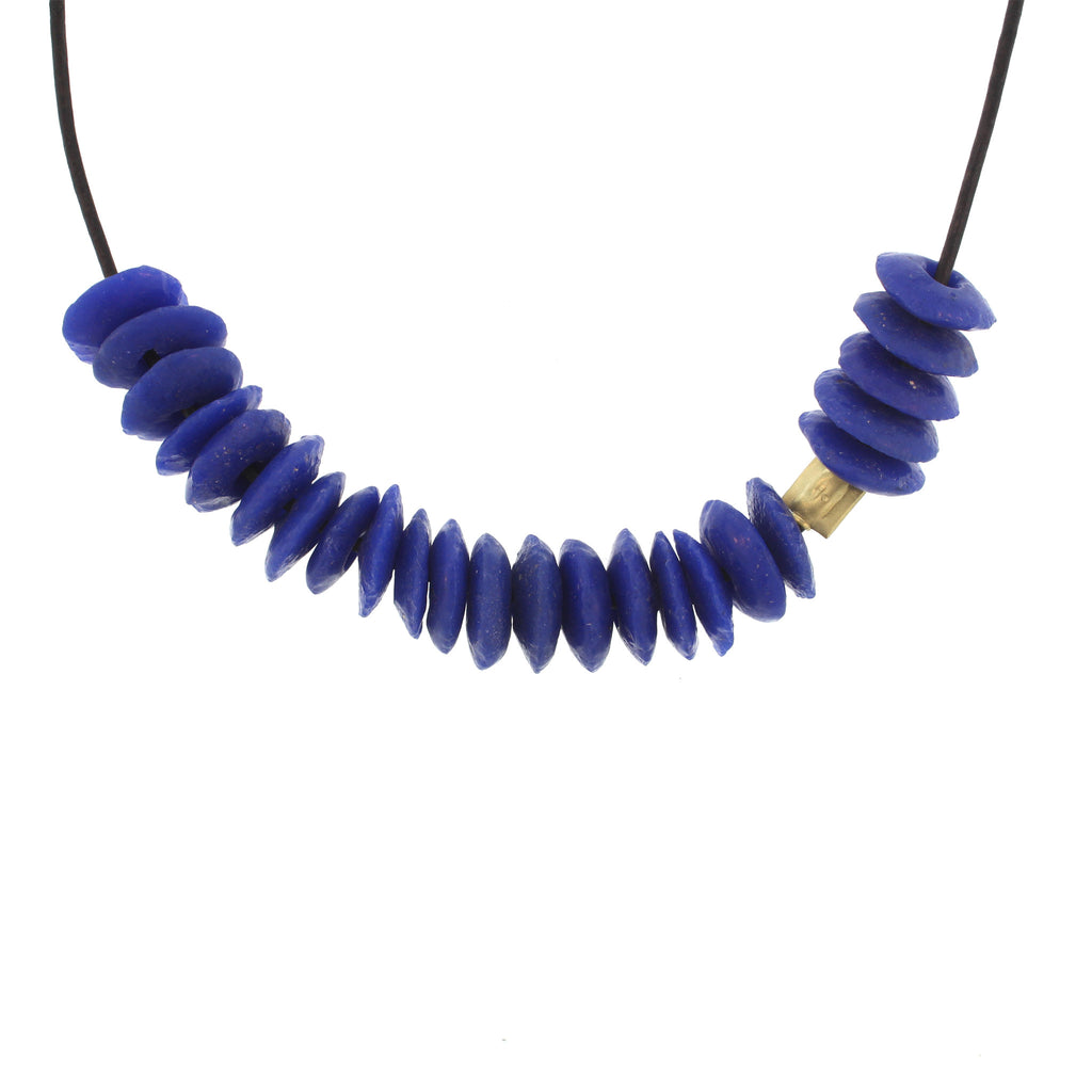 Recycled Glass Bead Necklace - Cobalt Blue