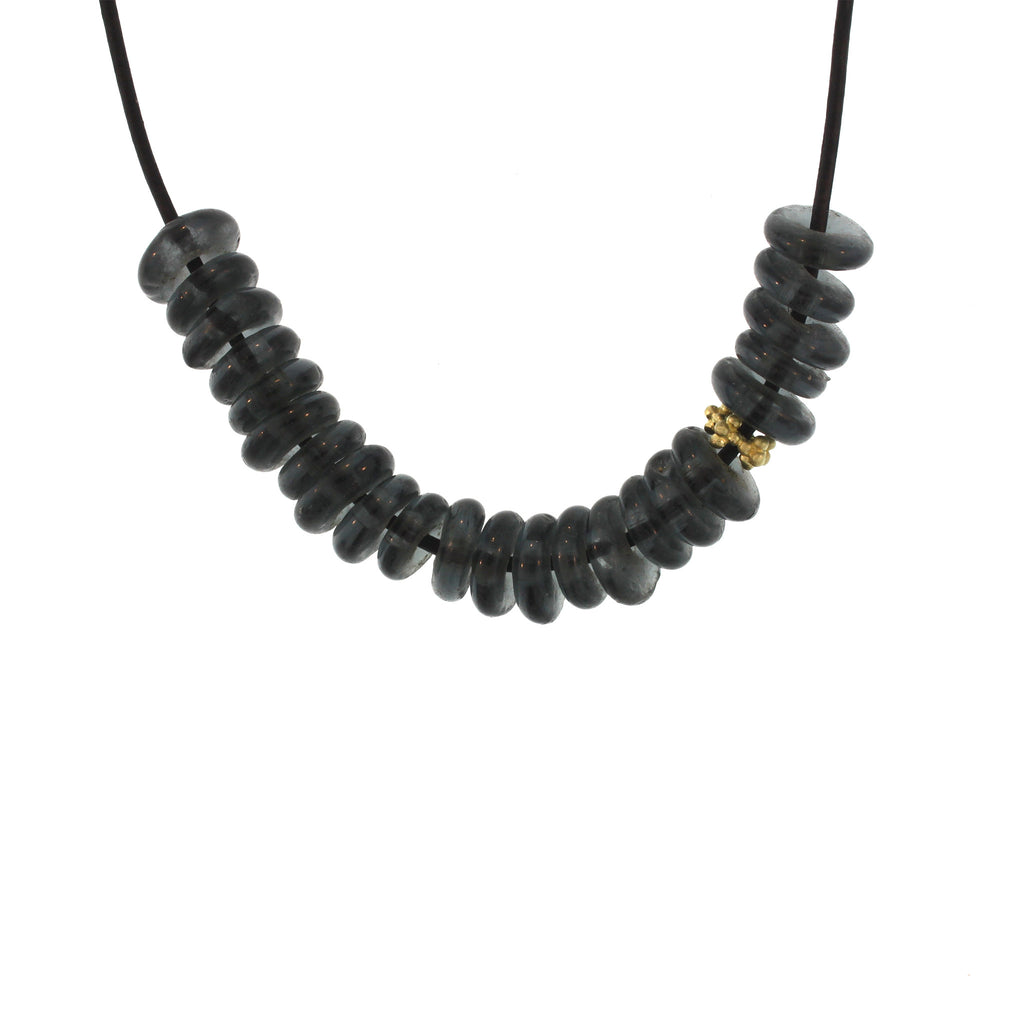 Recycled Glass Bead Necklace - Charcoal