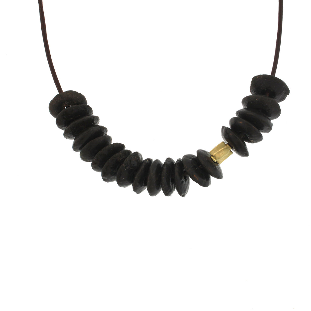 Recycled Glass Bead Necklace - Black