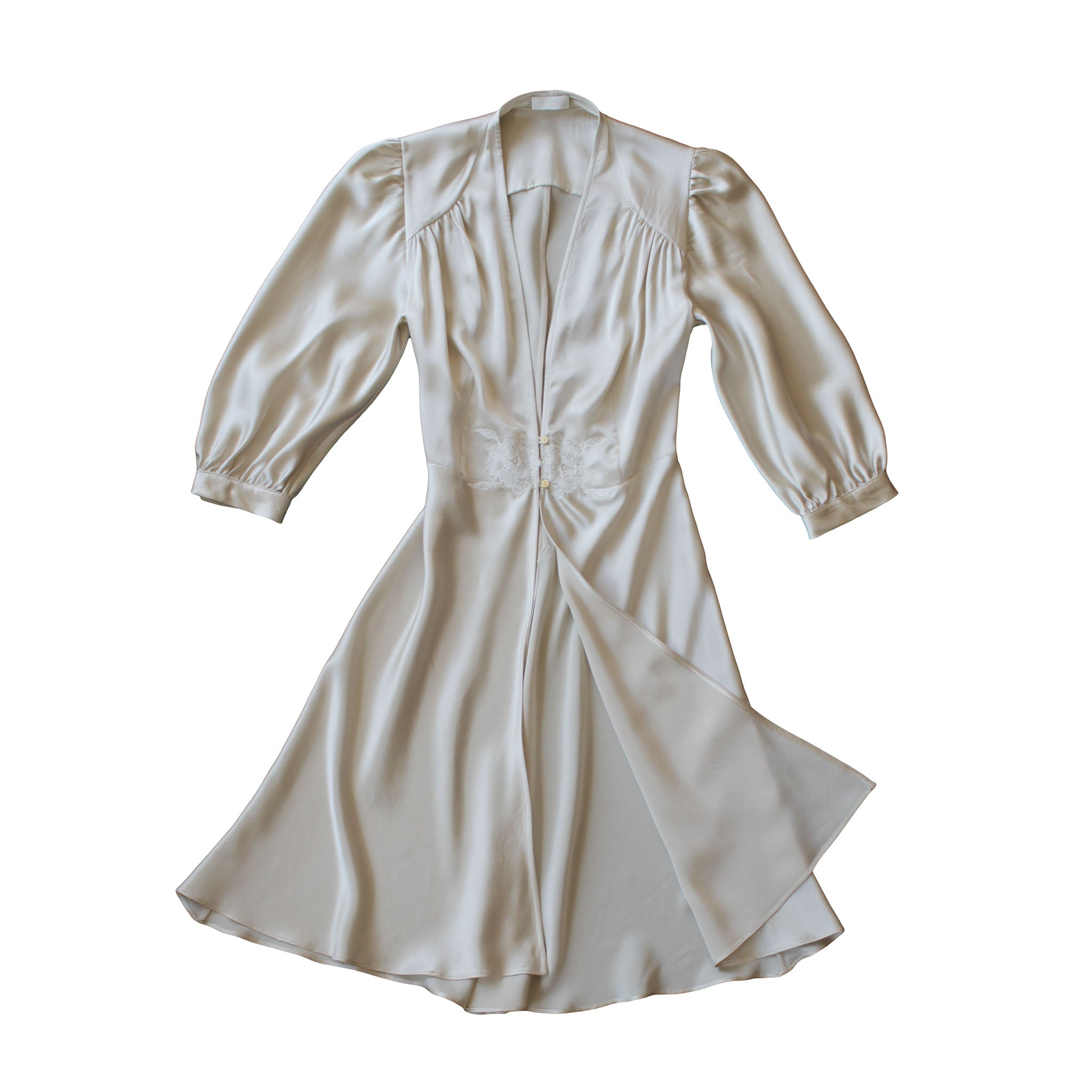 Maia Robe in Pearl Silk Charmeuse