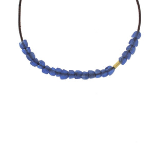 Recycled Glass Tulip Bead Necklace -  Blue