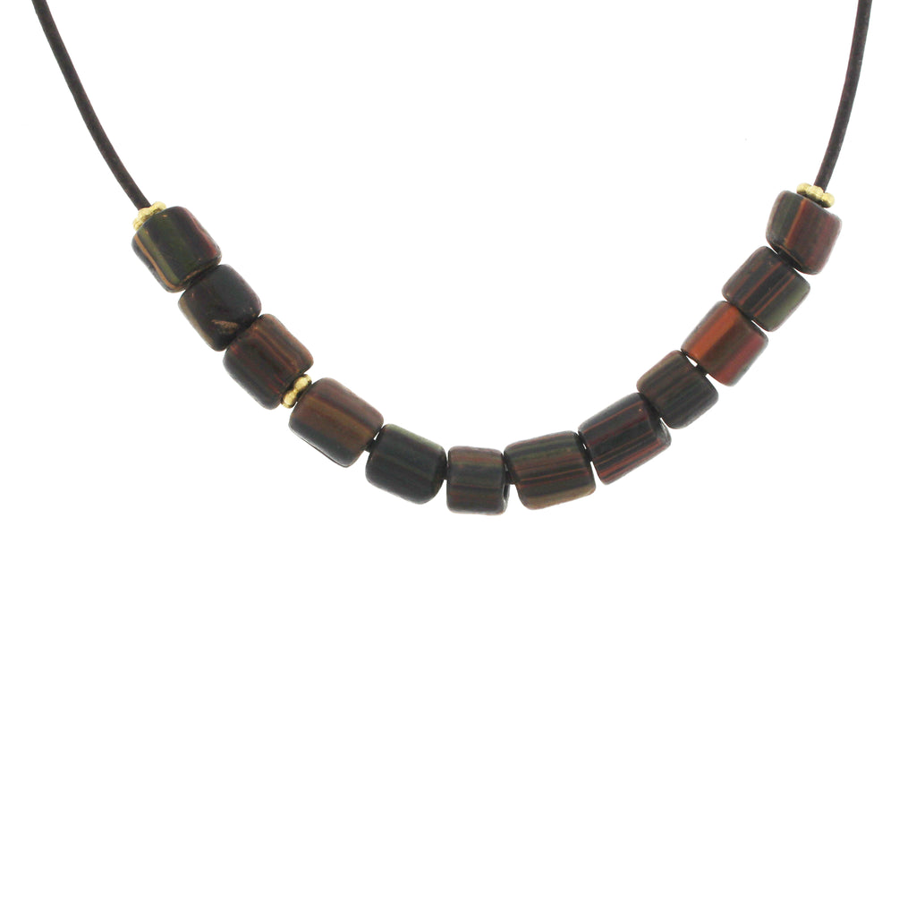 Striped Indonesian Glass Bead Necklace - Burnt Orange