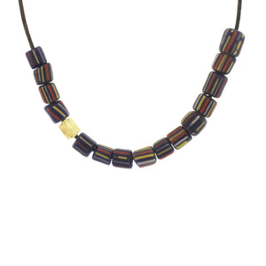 Striped Indonesian Glass Bead Necklace - Dark Blue