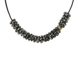 Marbleized Recycled Glass Bead Necklace - Black + White