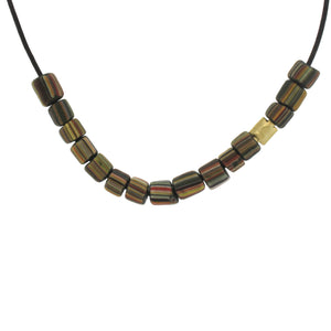 Indonesian Bead Necklace - Striped Olive Green