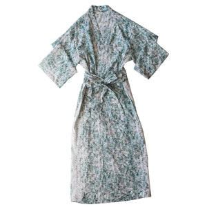 Asteria Kimono Robe in Tiers of Light Liberty Print Cotton with Lace