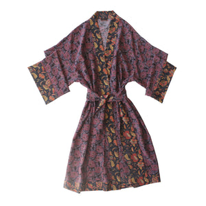 Selene One of Kind Robe in Print Block Coral Poppyseed Liberty Silk Crepe De Chine