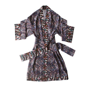 One of a Kind Selene Dressing Gown in Print Block Saxby Liberty Silk Crepe De Chine
