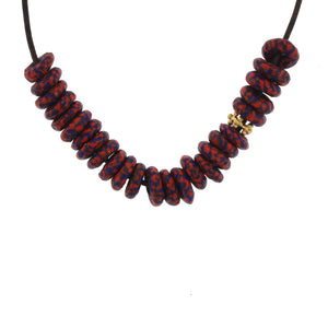 Recycled Marbleized Glass Bead Necklace - Cobalt + Red