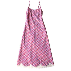 Juno Slip in Italian Cotton Pink Plaid with Lace