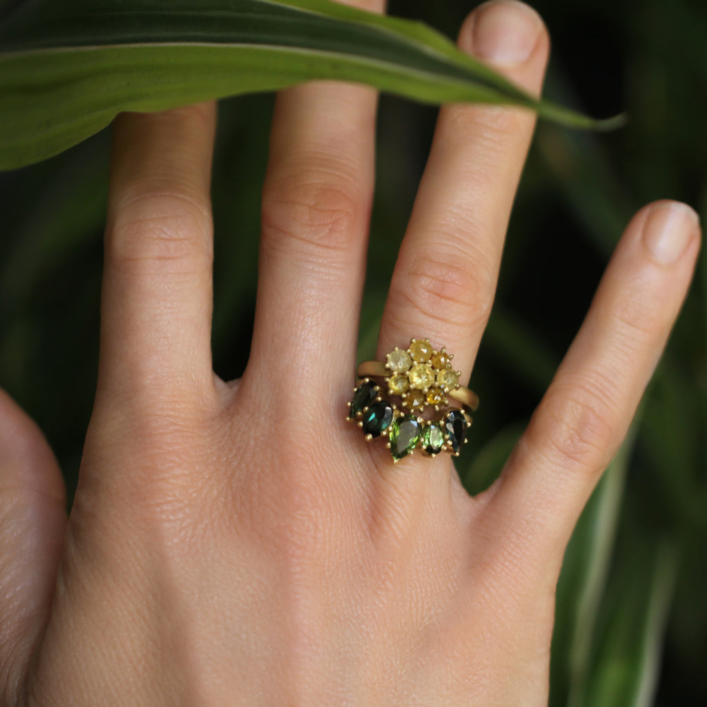 The Yellow Diamond Flower Cluster Ring