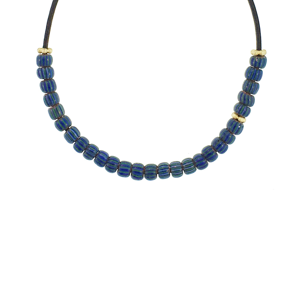 Blue Striped Glass Bead Necklace