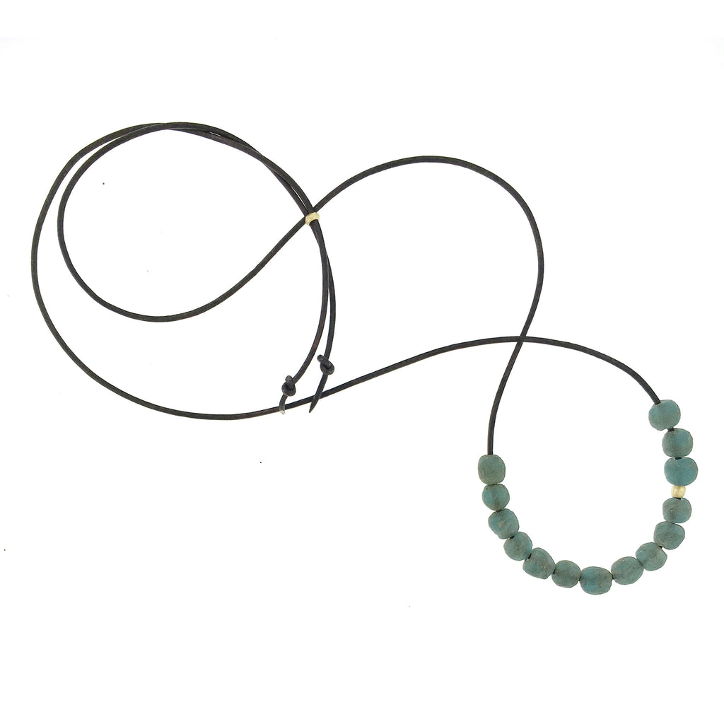 Dusty Teal Glass Bead Necklace