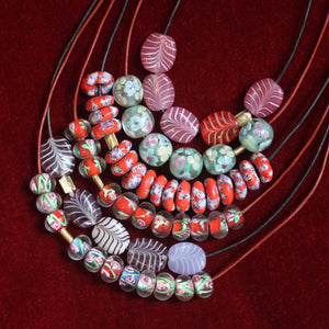 The Patterned Recycled Glass Bead Necklace - Red, Blue, & White