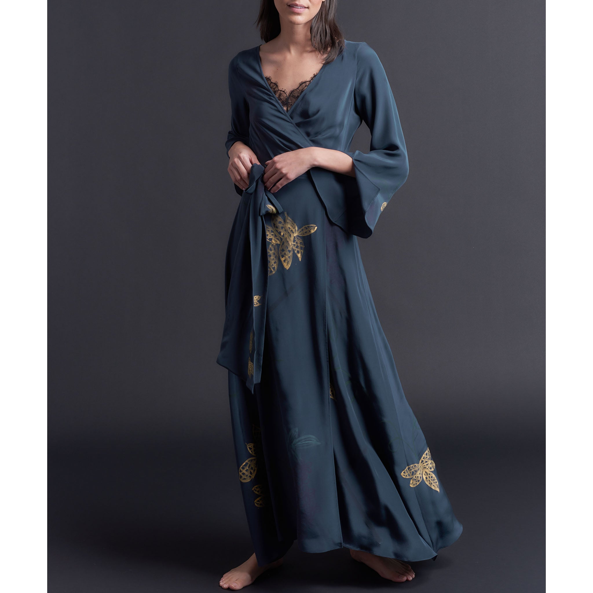 One of a Kind Hand Painted Iris Silk Crepe de Chine Dressing Gown