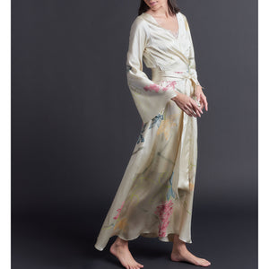 One of a Kind Hand Painted Iris Silk Satin Dressing Gown