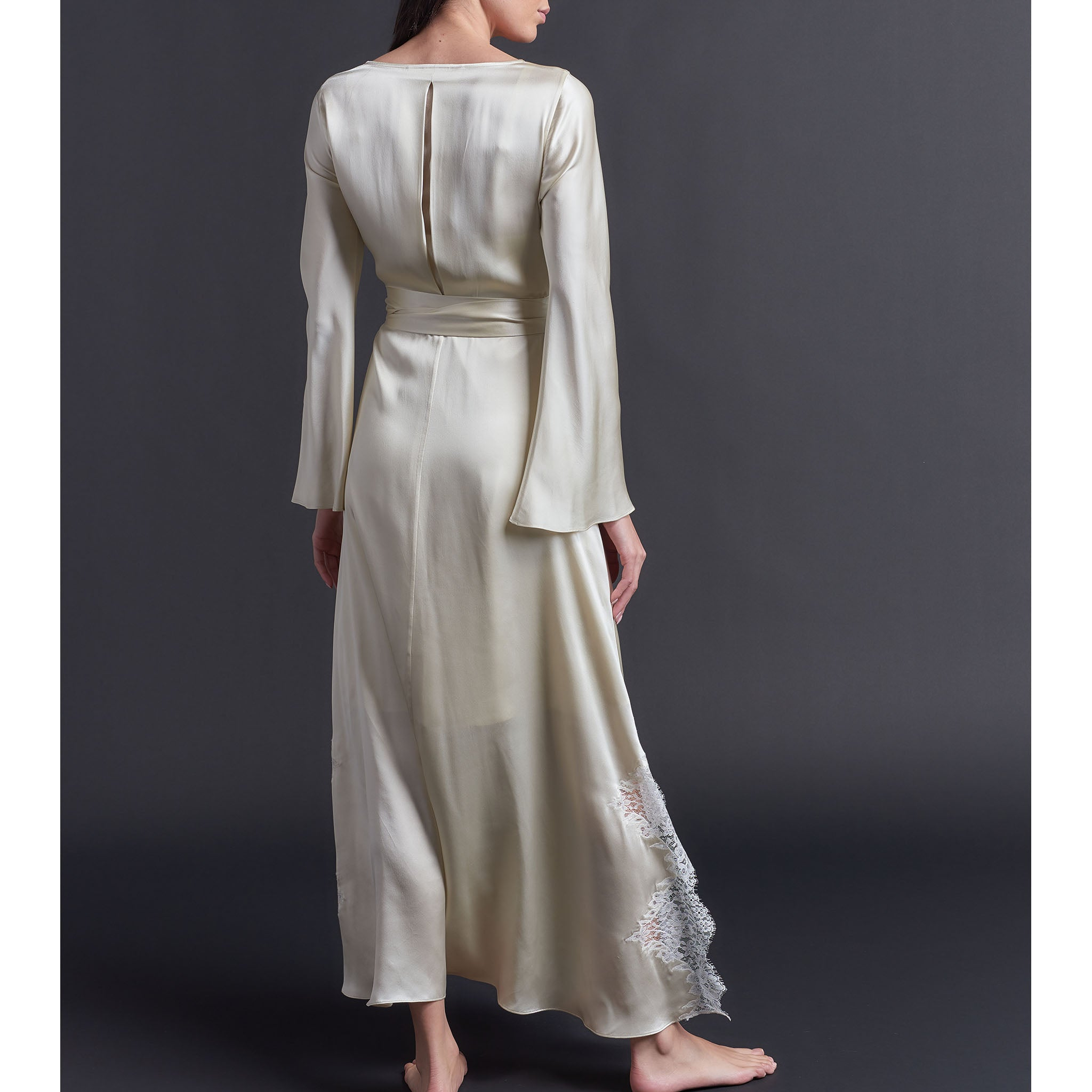 Iris Wrap Robe in Topaz Silk Charmeuse
