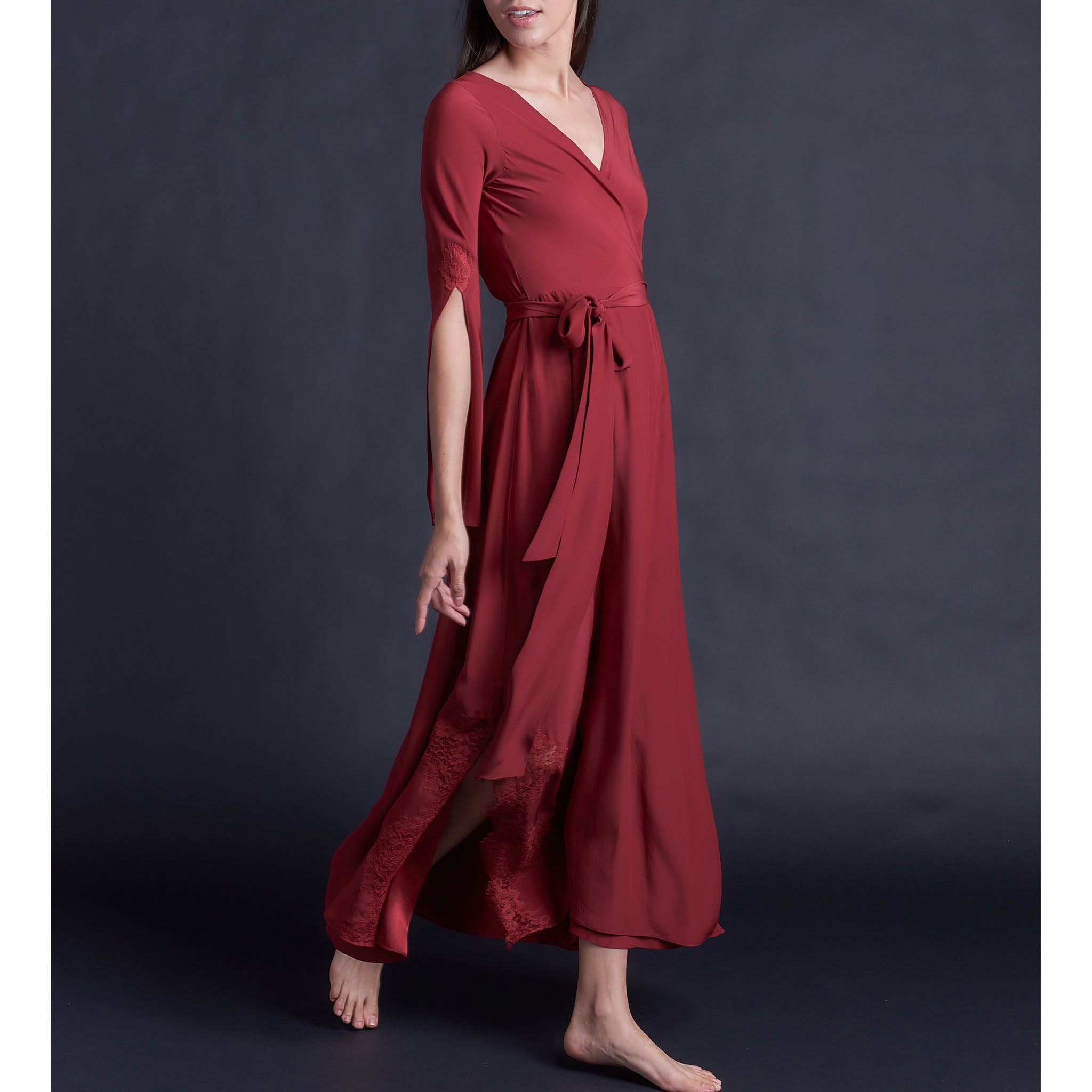 Iris Wrap Robe in Red Silk Charmeuse