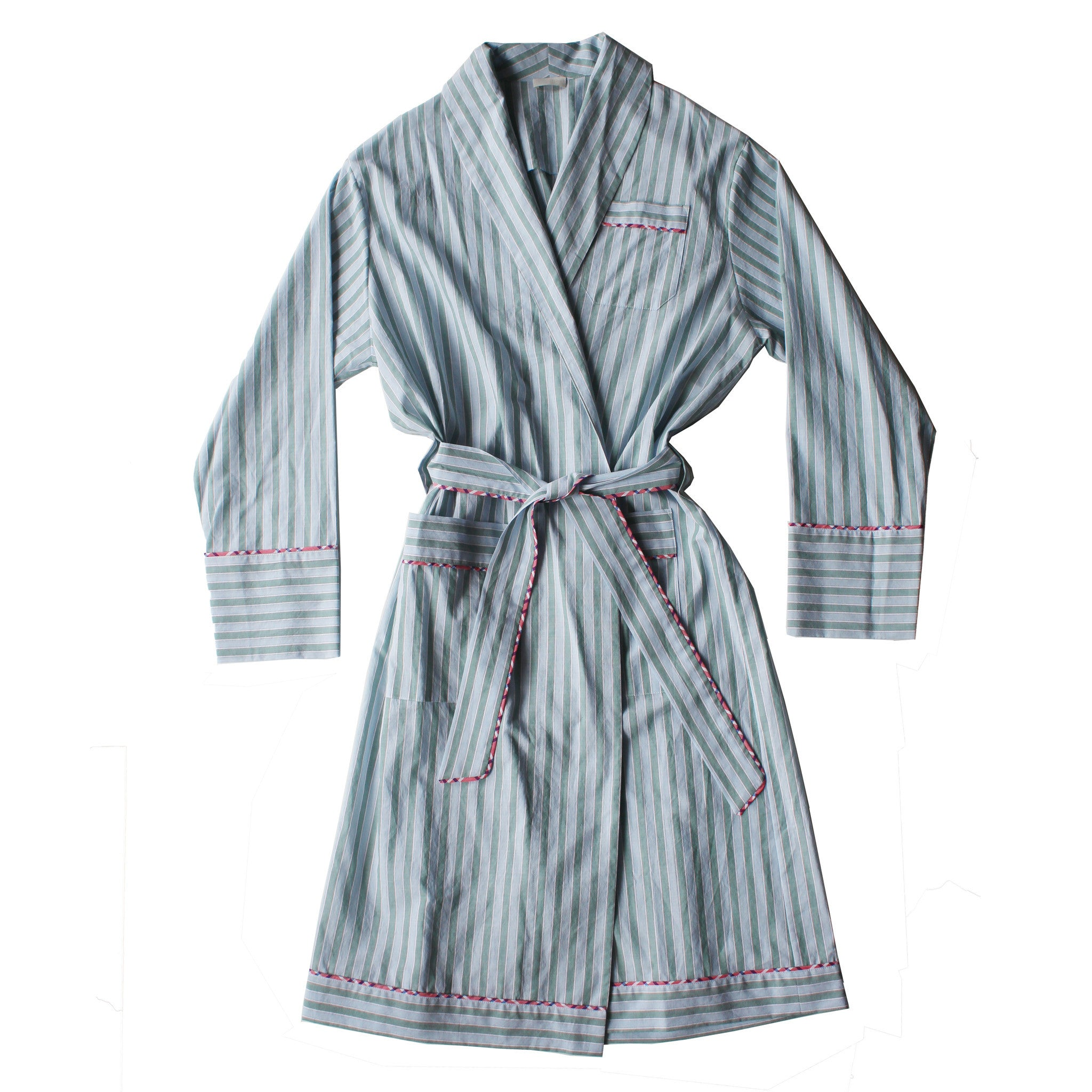Janus Robe in Green Stripe Italian Cotton