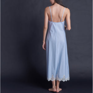 Juno Slip in Italian Cotton Blue Stripe with Lace
