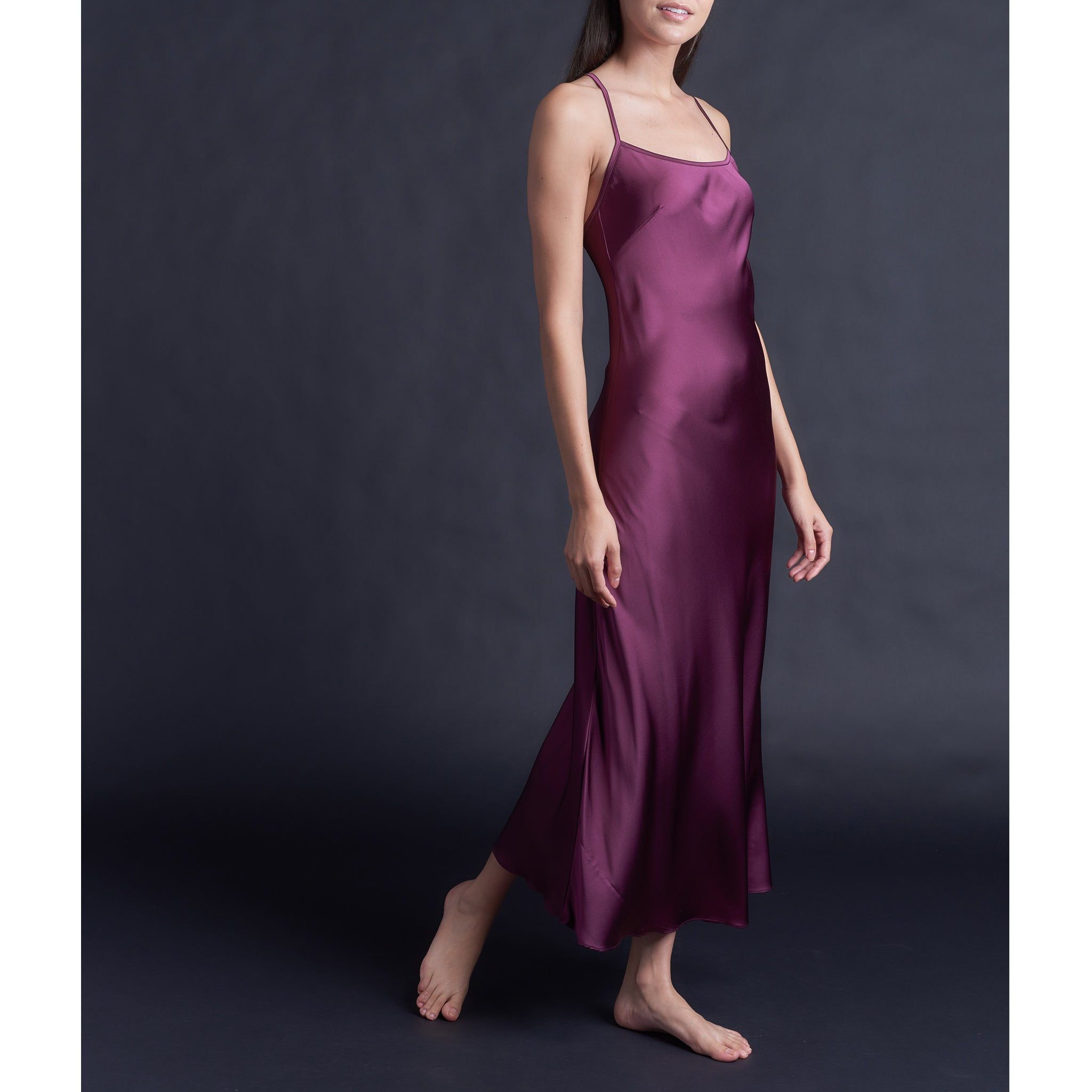 Juno Slip in Garnet Stretch Silk Charmeuse