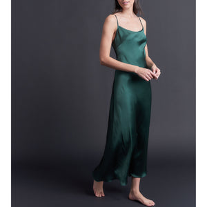 Juno Slip in Forest Green Silk Charmeuse