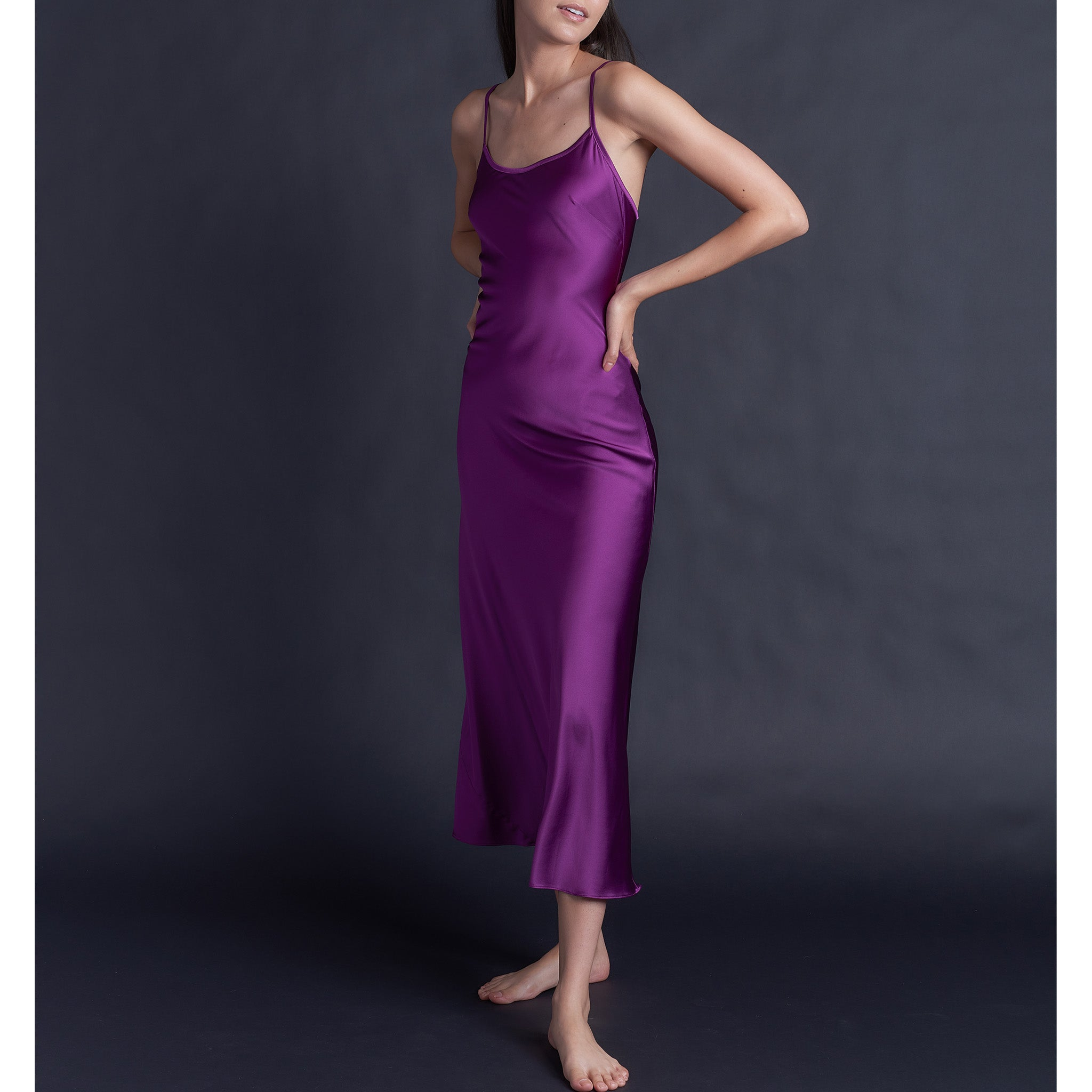 Juno Slip in Pink Tourmaline Stretch Silk Charmeuse