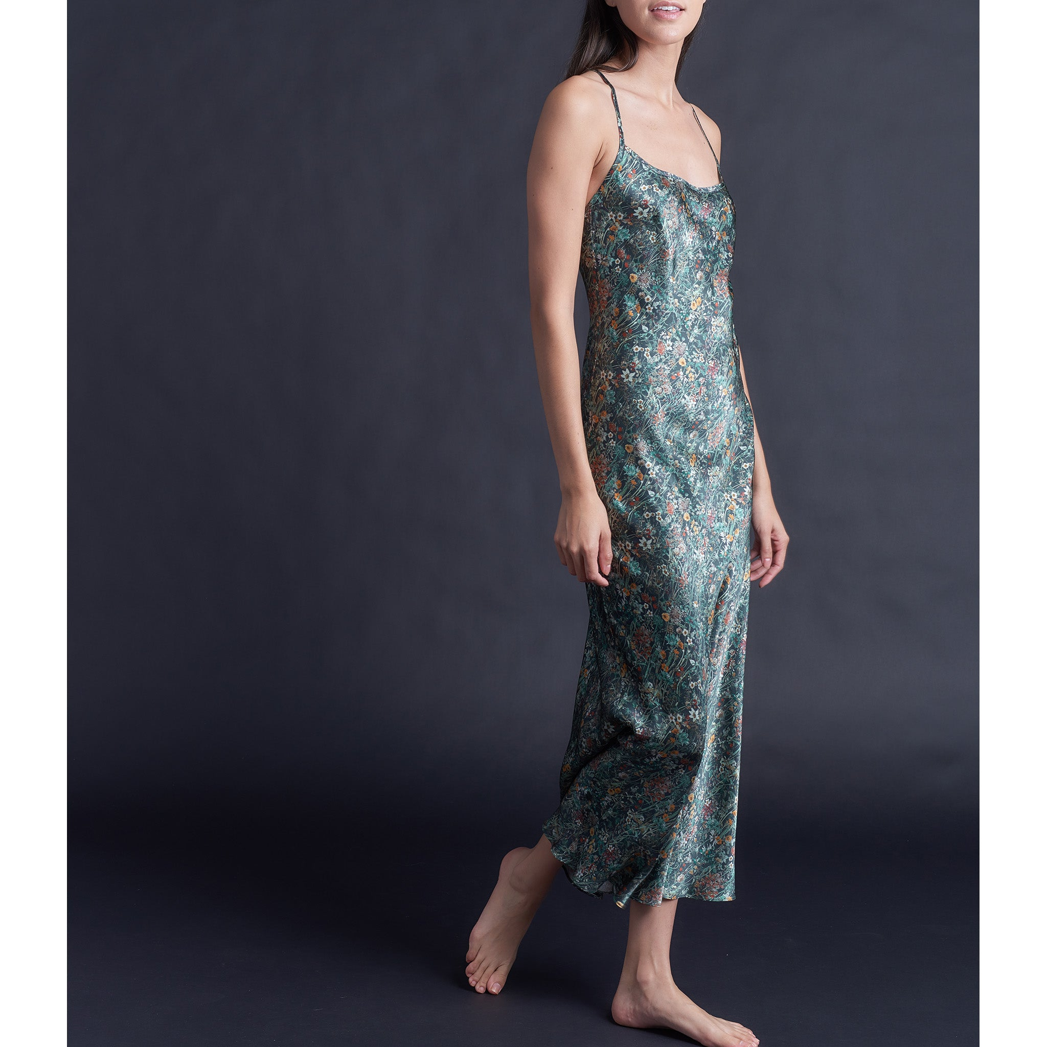 Juno Slip in Emerald Wildflowers Liberty Print Silk Satin
