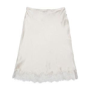 Kali Half Slip in Pearl Silk Charmeuse with Lace