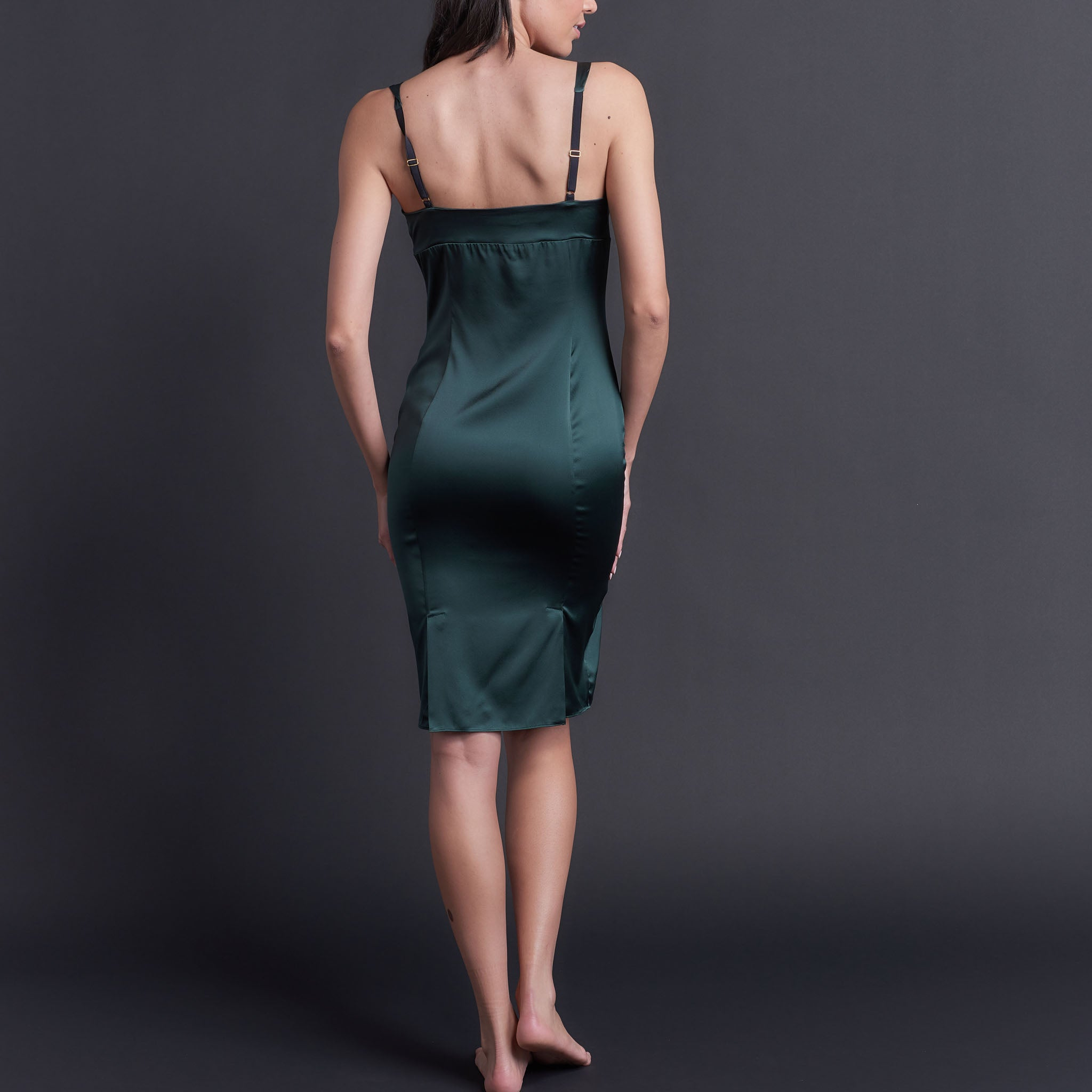 Laetitia Slip in Forest Green Stretch Silk Charmeuse