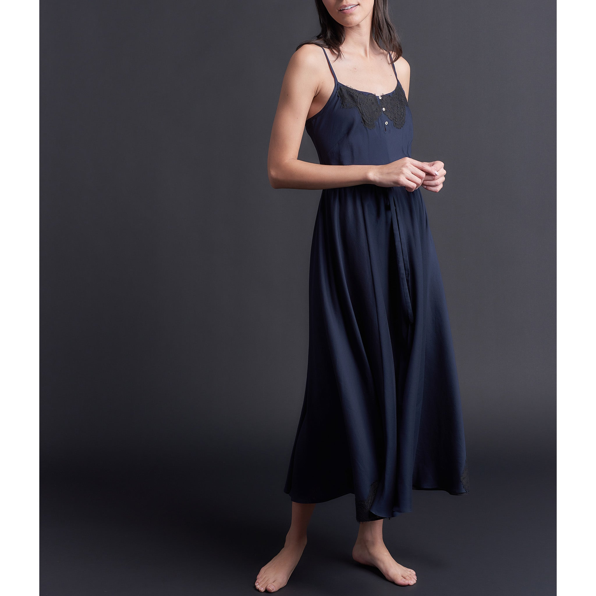 Lilia Slip Dress in Double Layer Silk Cotton Voile w/ French Lace