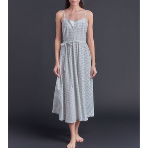 Lilia Slip Dress in Blue Bud Italian Cotton