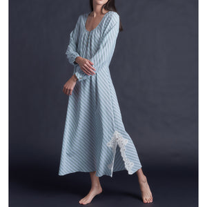 The Long Bast Sleep Shirt in Italian Green Striped Cotton