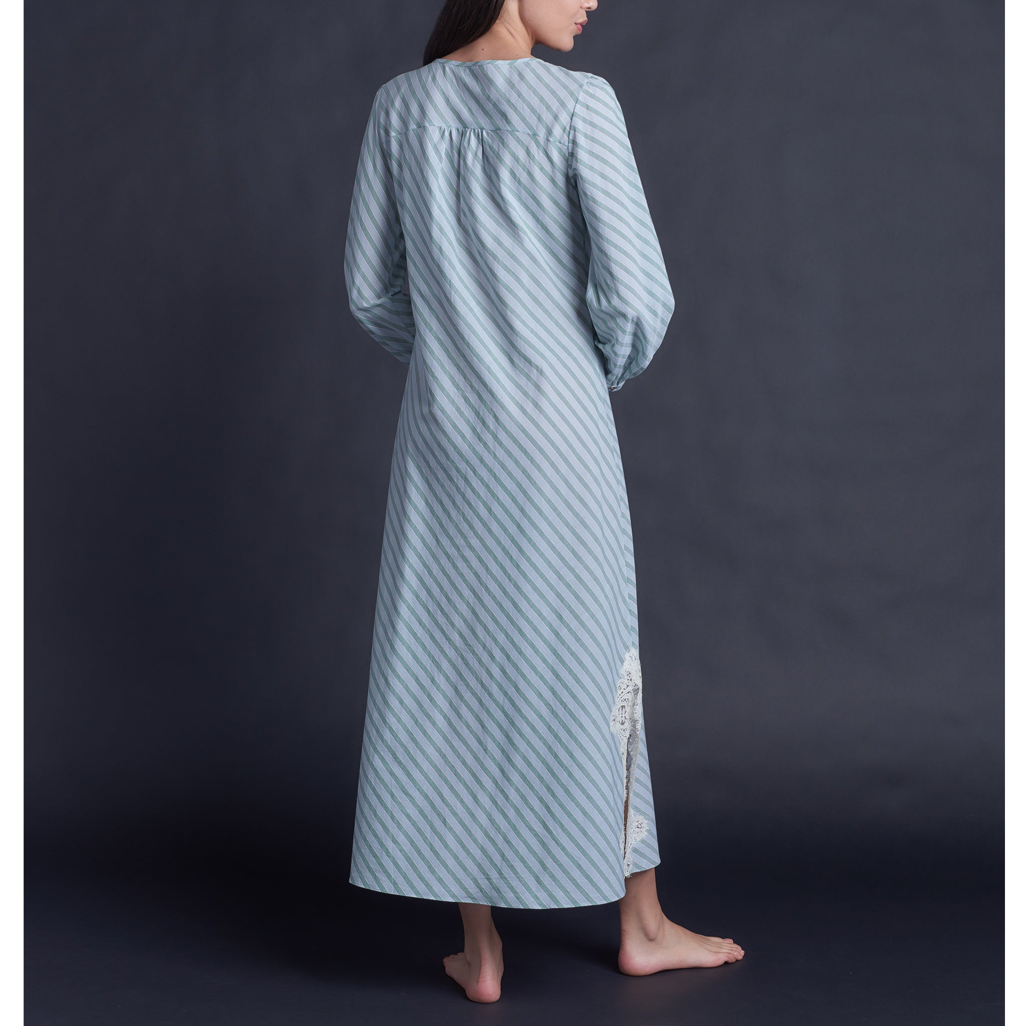 Bast Long Sleep Shirt in Italian Green Striped Cotton