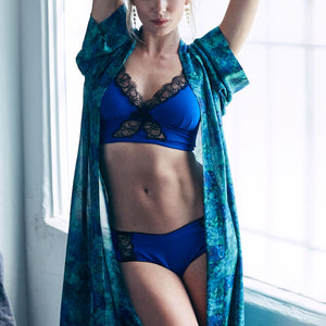 Hera Brief in Tanzanite Blue Stretch Silk Charmeuse