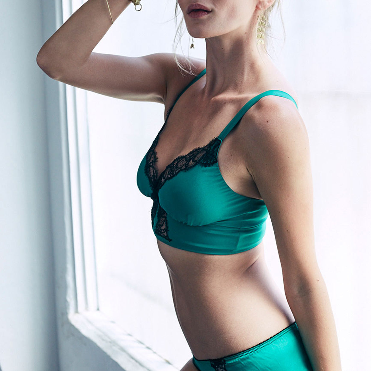 Gaia Bralette in Emerald Stretch Silk Charmeuse