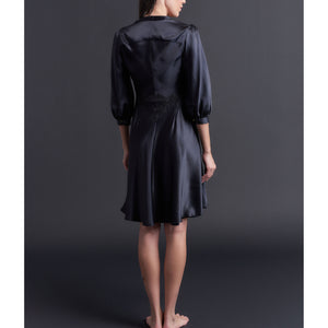 Maia Robe in Black Silk Charmeuse