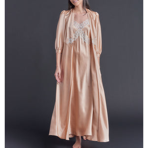 Maia Long Robe in Vintage Blush Silk Charmeuse