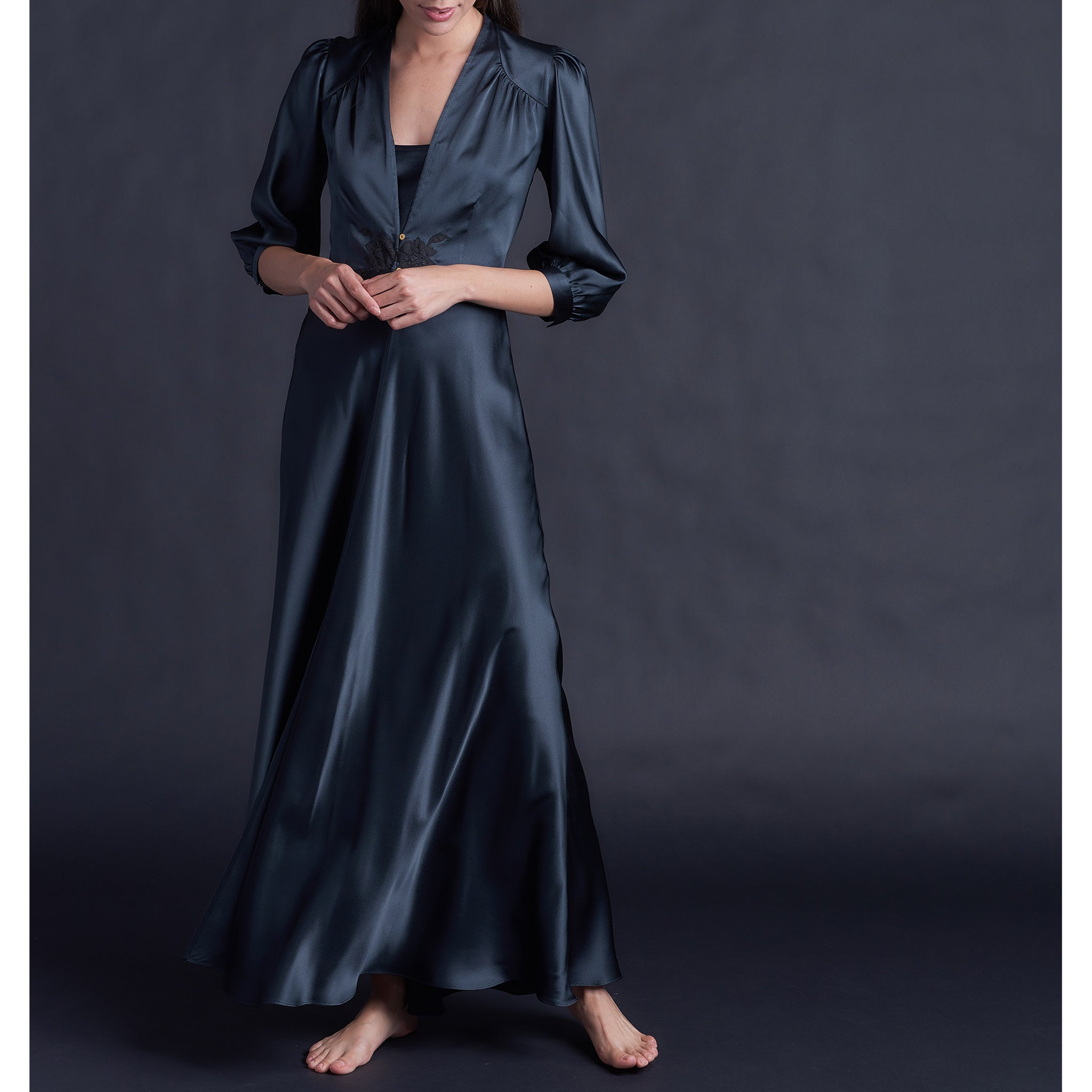Maia Long Robe in Sapphire Silk Charmeuse