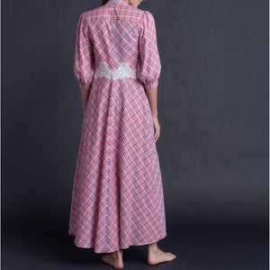Maia Long Robe in Italian Cotton Plaid