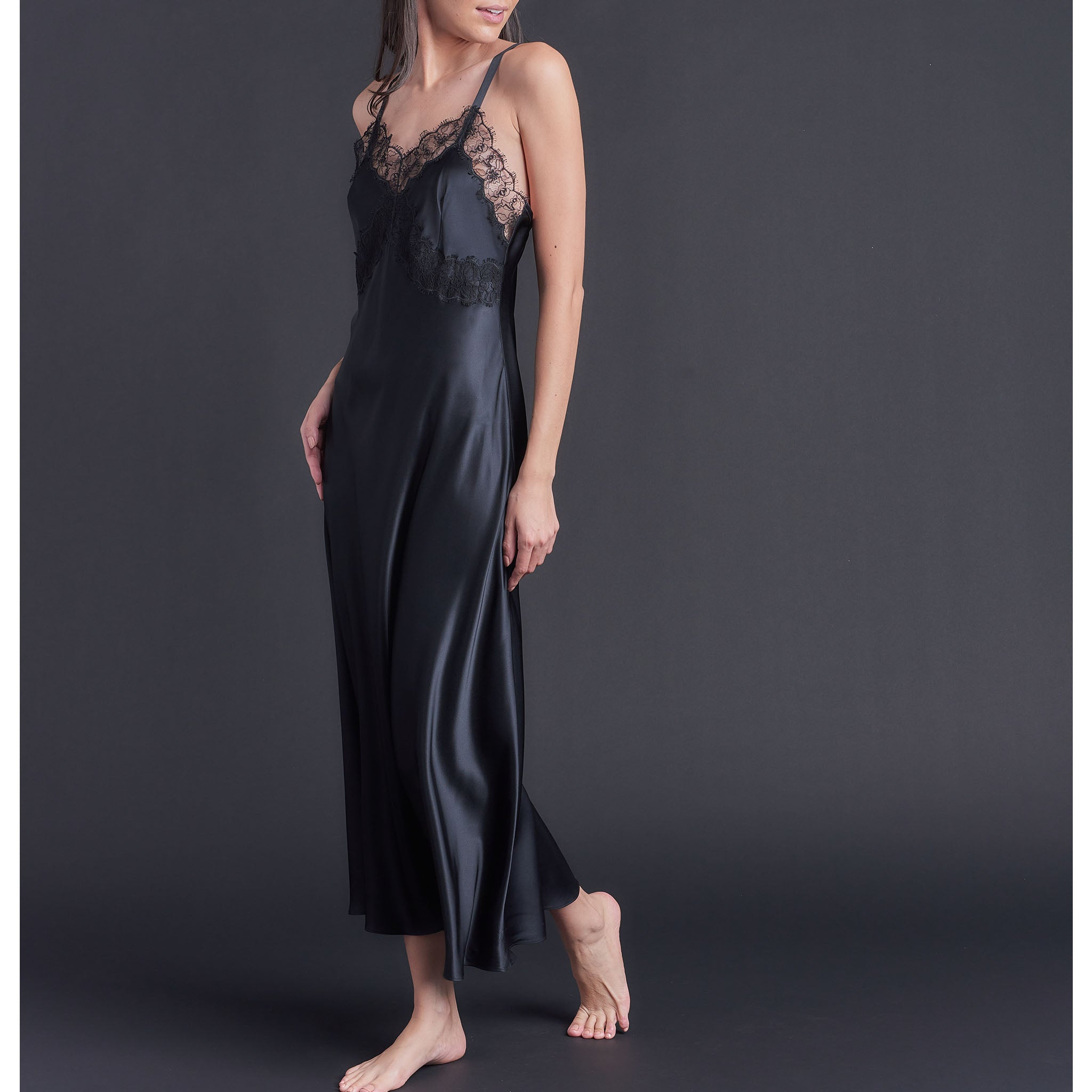 Marlayne Silk Charmeuse Slip in Black